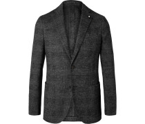 Grey Slim-Fit Unstructured Prince of Wales Checked Wool and Cotton-Blend Blazer