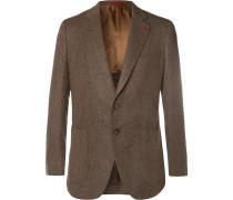 Brown Herringbone Wool Blazer - Brown