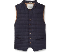 Slim-fit Quilted Linen Down Gilet - Navy
