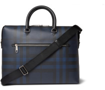 Checked Textured-leather Briefcase - Navy