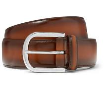 3.5cm Brown Burnished-leather Belt - Brown