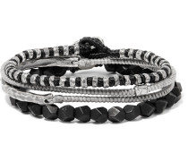 The Create Stack Silver And Onyx Bracelet Set