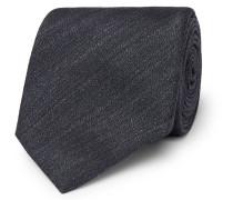 7cm Mélange Silk And Linen-blend Tie - Navy