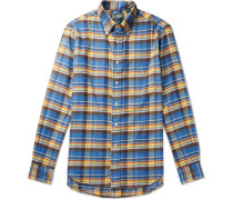 Slim-fit Button-down Collar Checked Brushed Cotton-flannel Shirt - Blue