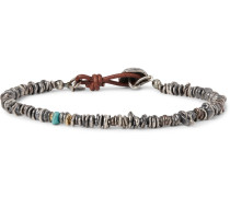 Sterling Silver, Rutilated Quartz And Turquoise Bracelet