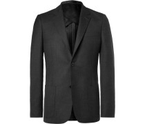 Black Unstructured Worsted Wool Blazer