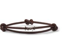 Leather And Burnished Silver-tone Wrap Bracelet