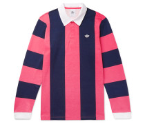 Twill-trimmed Striped Cotton-jersey Rugby Shirt - Pink