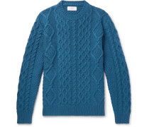 Cable-knit Merino Wool And Cashmere-blend Sweater - Teal