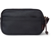 Leather-trimmed Cotton-canvas Wash Bag - Navy