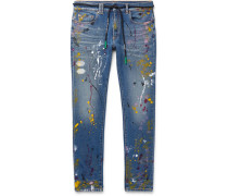 Skinny-fit Paint-splattered Denim Jeans - Off-white