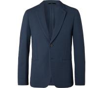 Navy Slim-fit Cotton-blend Seersucker Blazer - Navy