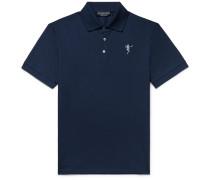 Slim-fit Embroidered Cotton-piqué Polo Shirt - Storm blue