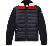 Panelled Fleece-back Cotton-jersey And Quilted Shell Down Jacket - Navy
