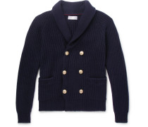 Shawl-collar Double-breasted Ribbed Cashmere Cardigan