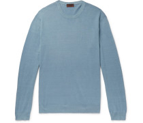 Slim-fit Linen And Cotton-blend Sweater - Blue