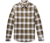 Wallace & Barnes Slim-fit Checked Cotton-flannel Shirt - Army green