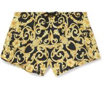 Short-length Printed Swim Shorts - Gold