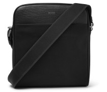 Meridian Cross-grain Leather-trimmed Canvas Messenger Bag
