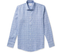 Slim-Fit Prince of Wales Checked Linen Shirt