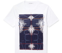 Slim-Fit Embroidered Panelled Cotton-Jersey T-Shirt