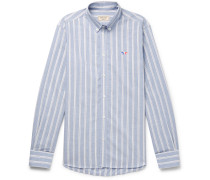 Slim-fit Button-down Collar Striped Cotton-poplin Shirt - Blue