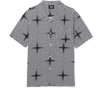 Camp-collar Printed Woven Shirt - Gray