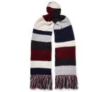 Fringed Striped Ribbed Cashmere Scarf - Multi