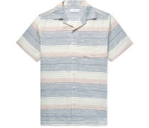 Vacation Camp-collar Striped Linen And Cotton-blend Shirt