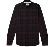 Anton Button-down Collar Checked Cotton-flannel Shirt
