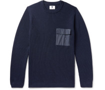 Phil Slim-fit Ripstop-trimmed Ribbed Merino Wool-blend Sweater - Navy