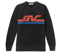 Printed Loopback Cotton-jersey Sweatshirt - Black
