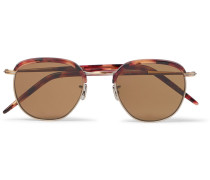 Round-frame Gold-tone And Tortoiseshell Acetate Sunglasses - Brown