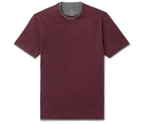 Slim-fit Layered Cotton-jersey T-shirt - Burgundy