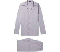 Checked Mercerised Cotton Pyjama Set - Gray