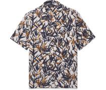 Daze Camp-collar Printed Linen Shirt