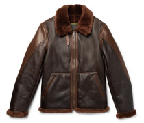 B-3 Panelled Shearling And Leather Bomber Jacket - Dark brown