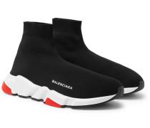 Speed Sock Stretch-knit Sneakers - Black