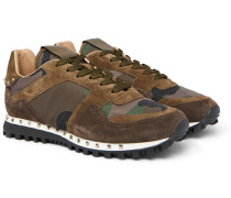 Valentino Garavani Rockstud Suede And Camouflage-print Shell Sneakers