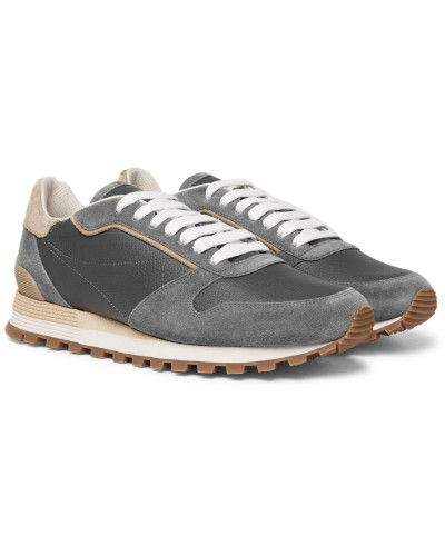 Crono Suede And Full-grain Leather Sneakers