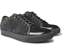 Cap-toe Suede And Patent-leather Sneakers - Gray