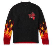 Logo-Appliquéd Wool-Blend Jacquard Sweater