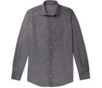 Micro-Checked Cotton-Poplin Shirt