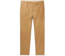 Dark-Grey Theo Tapered Cotton-Blend Trousers