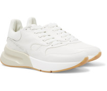 Exaggerated-sole Suede-trimmed Leather And Mesh Sneakers