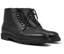 Helston Pebble-grain Leather Boots - Black