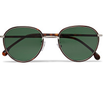 Albion Round-Frame Tortoishell Acetate and Silver-Tone Sunglasses