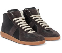 Replica Leather And Suede High-top Sneakers