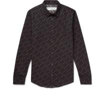 Slim-Fit Logo-Print Cotton-Poplin Shirt