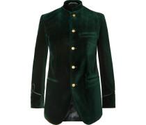 Dark-Green Slim-Fit Nehru-Collar Cotton-Velvet Jacket